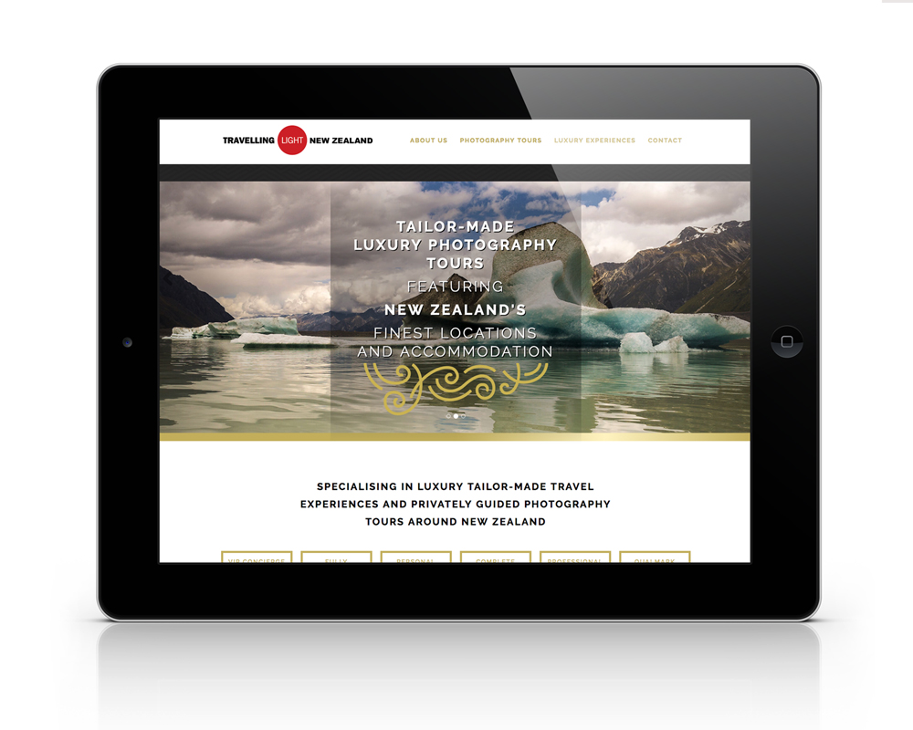 Screenshot of Travelling Light Photography website