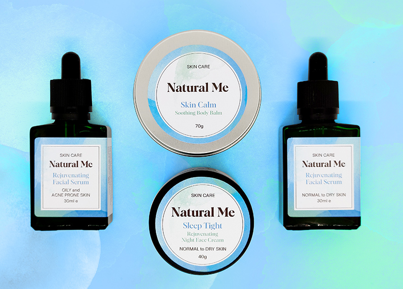 Four products from the Natural Me skin care range